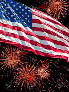 The American Flag And A Fireworks Display Stock Photo, Picture And Royalty  Free Image. Image 9815389.