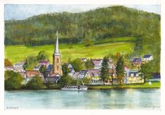 The village of Einruhr and Hotel Seemowe on Obersee of the Rur River in Germany in the Eifel Nature Park near the Belgian border.  Pencil, ink and watercolours on 300 gsm medium surface texture Arches french cotton paper.  21 cm high by 29.5 cm wide (8.25 inches by 11.75 inches) approximately - A4 standard size.  To check on the availability of the original for purchase, please visit http://www.daiwynn.com/artist/einruhr/