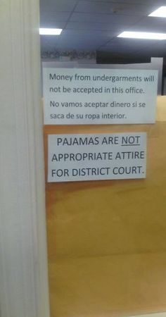 Court Dress Code: No Money from Undergarments. No Pajamas. No Fashion Fails ---- best hilarious jokes funny pictures walmart humor fail Funny Images, Funny Photos, Law School Humor, Lawyer Humor, Probation Officer, Legal Humor, District Court, Verbatim, Paralegal