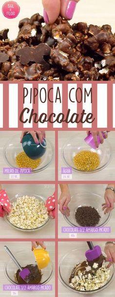 Quem não gosta de pipoca?? Ainda mais com chocolate, fica deliciosa!!
