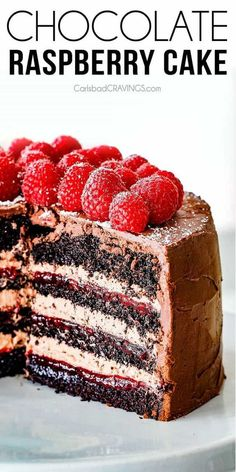 Amazingly Rich, Tender And Moist Dark Chocolate Raspberry Cake With Layers Of Luscious Raspberry Jam And Silky Chocolate Mascarpone All Enveloped In Rich Dark Chocolate Ganache The Best Chocolate Cake You Will Ever Have Via Carlsbadcraving Beattys Chocolate Cake, Too Much Chocolate Cake, Chocolate Raspberry Cake, Delicious Chocolate, Homemade Chocolate, Chocolate Recipes, Raspberry Cake Filling, Chocolate Frosting, Delicious Food