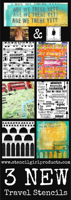 Travel Stencils designed by Carolyn Dube for StencilGirl Products. Use them in your Mixed Media, Scrapbook and Art Journaling projects!