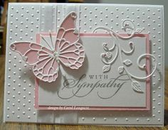 Our Little Inspirations: Memory Box Butterfly Sympathy Card Tarjetas Stampin Up, Memory Box Cards, Memory Box Dies, Embossed Cards, Stamping Up Cards, Get Well Cards, Creative Cards, Cute Cards, Greeting Cards Handmade