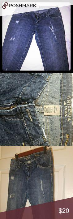 Arizona Jean Co. distressed skinny jeans Blue jeans, distressed... Arizona Jean Company Jeans Boot Cut
