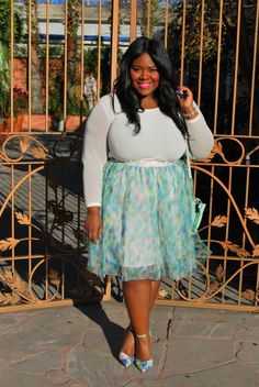 Musings of a Curvy Lady, Plus Size Fashion, Fashion Blogger, PS Blogger, Fashion Blog, Women's Fashion, Spring Fashion, Tulle Skirt, LC Lauren Conrad, Kohl's, Jennifer Lopez Collection, Floral Print, Curvy Style, People Style Watch