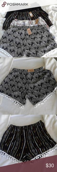 💖💞💗4 POM POM SHORTS BUNDLE💞💖💗 Brand new! Super Cute!  Get them all for a price of one! Size Large! Black one indicates ONE SIZE...would fit size small .medium. .looks smaller than the rest.. The other 3 shorts' tags indicate Plus SIZE Would fit sizes medium to Large..more on the larger side... They are super comfortable and cute! I also have one of each :) Shorts Skorts