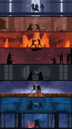 A poster showing the various lightsaber battles in the Star Wars movie series. The poster has a very clean design to it with limited details on the figures to make them stand out more against their more detailed backgrounds. Star Wars Fan Art, Star Wars Film, Star Wars Poster, Nave Star Wars, Star Wars Rebels, Star Trek, Star Wars Icons, Star Wars Ships, Star Wars Jedi