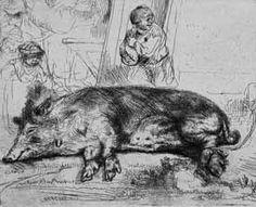 """Rembrandt van Rijn  Detail """"Sleeping Hog"""" 1643"""