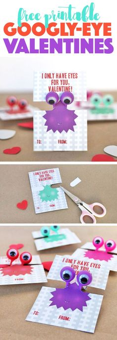 printable googly eye #valentines - love this idea for a non-candy classroom valentine