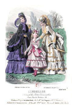 1870 cendrillon p8 n°10 aout_ Victorian Dresses, Victorian Women, Victorian Era, Victorian Fashion, Vintage Dresses, Vintage Fashion, Vintage Vibes, Vintage Ads, 1870s Fashion