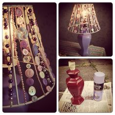 Upcycled beaded and button lampshade http://www.camilla-erikacampbell.blogspot.co.uk/2013/08/day-8-beaded-lampshade-beauty.html?m=1