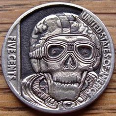 PAUL HOLBRECHT HOBO NICKEL - CAFE RACER - 1936 BUFFALO NICKEL REVERSE CARVING Day Of Dead Makeup, Deadpool Fan Art, Hobo Nickel, Coin Art, Bullion Coins, Old Money, Cafe Racer, Us Coins, Coin Collecting