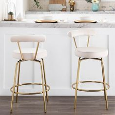 Shop Silver Orchid Caines Glam Counter Stool (Set of - On Sale - Overstock - 30526421 - Cream Kitchen Island Stools With Backs, Stools For Kitchen Island, White Counter Stools, Island Chairs, Bar Chairs, New Kitchen, Kitchen Decor, Kitchen Items, Kitchen Utensils
