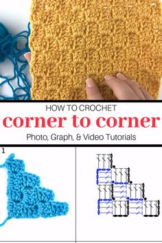 Corner to Corner Crochet for Beginners Video Tutorials : Corner to corner crochet video and photo tutorials, graph charts for increasing, decreasing and crocheting a rectangle. Tutorial by Winding Road Crochet. Crochet Simple, Free Crochet, Knit Crochet, Crochet Picot Edging, Crochet Santa, Unique Crochet, Crochet Tops, Crochet Baby, Crochet Stitches Patterns