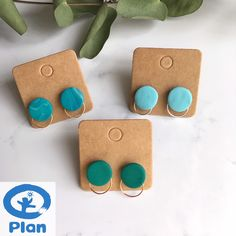 The Planlee Charity Fundraiser Stud Earrings. Plan International UK, Green, Teal and Turqoise Combi, Stainless Steel Stud Backs Polymer Clay Art, Handmade Polymer Clay, Polymer Clay Earrings, Etsy Jewelry, Handmade Jewelry, Jewellery, Small Earrings, Stud Earrings, Plan International