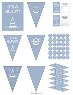 """Not the right colors (though, perhaps I could edit), but man I giggled at the """"It's a buoy,"""" """"it's a gull,"""" and """"we know knot."""" Snort. (Free printables for a nautical shower!)"""