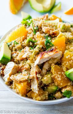 Citrus Chicken Quinoa Salad. Used chickpeas instead of chicken