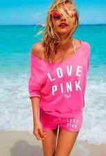 Women Victoria's Secret PINK Black Graphic Sweatshirt And Shorts Set Size XS
