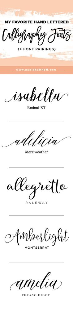 Calligraphy and hand lettering is super trendy these days and goes great with fun, feminine brands as well as weddings and other fancier events. If you have no hand lettering skills, why not download modern calligraphy fonts instead?!