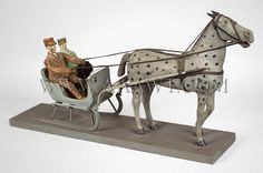 Folk Art  Carved And Painted  Horse Drawn Sleigh...with driver and passenger  Vermont  Circa 1900