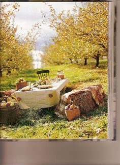 Love This Autumn Table setting especially the hay bales and apple table weights