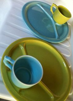 early california pottery ceramic divided plates with cups, via etsy