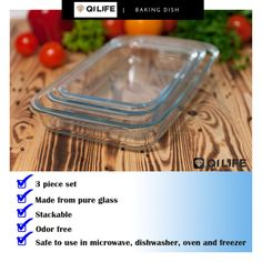 Your kitchen wares wouldn't be complete without glass baking dishes ! Introducing our excellent high quality QI Life Baking Dish Set with an elegant looking style you can't resist to buy. Baking Dishes, Glass Baking Dish, Kitchenware, Dishwasher, Pure Products, Canning, Elegant, Tips, Food