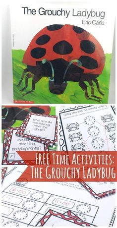 Telling Time with The Grouchy Ladybug!} These fun telling time activities can be used along with the book, The Grouchy Ladybug! Kids will love telling time along with the story! Telling Time Activities, Teaching Time, Literacy Activities, Teaching Math, Teaching Ideas, Math Resources, Spring Activities, Math Games, Preschool Ideas