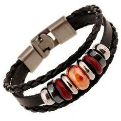 New for 2017 Men's Tiger Eye_Red_Silver Leather Bracelet
