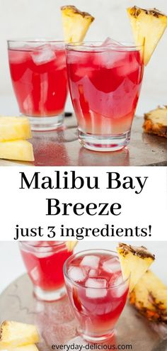 Malibu bay breeze is a delicious and easy drink, made with only 3 ingredients: Malibu, pineapple juice and cranberry juice. Malibu bay breeze is sweet, fruity and very refreshing. # Food and Drink ideas cranberry juice Sweet Alcoholic Drinks, Fruity Alcohol Drinks, Alcohol Drink Recipes, Easy Drink Recipes, Yummy Drinks, Refreshing Drinks, Easy Rum Drinks, Easy Fruity Cocktails, Juice Recipes