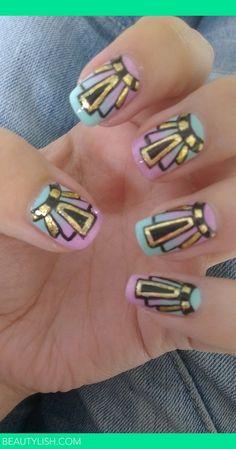 art deco nails | Alexis C.s (glittertips) Photo | Beautylish