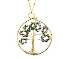 handcrafted tree of life swarovski goud grey
