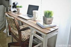 DIY Barstool Desk -- with casters, AND those lower rungs to set another shelf on, this could be a great kitchen cart.