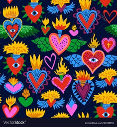 Sacred heart seamless pattern, colorful religious hearts on fire. Flat cartoon style background for valentines, day of the dead or traditional religion event. Cartoon Icons, Cartoon Styles, Psychedelic Art, Art Pop, Frida Art, Heart Illustration, Fire Heart, Mexican Art, Eye Art