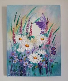 White Daisies Butterfly Original Oil Painting IMPASTO Meadow EU Artist 2000-now #Impressionism