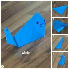 Easy Origami Endangered Animals - Green Kid Crafts origami whale from Green Kid. Easy Origami Endangered Animals – Green Kid Crafts origami whale from Green Kid Crafts Whale Origami, Origami Fish, Origami Folding, Origami Paper, Dollar Origami, Origami Ball, Origami Simple, Easy Origami For Kids, Origami Star Box
