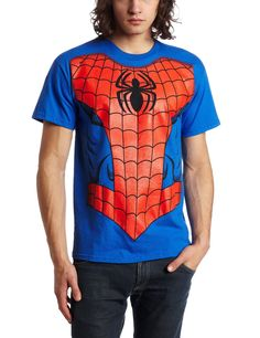 Large Adult Mens Spider-Man Halloween Costume T-Shirt Fancy Dress Cosplay Props Spiderman Shirt, Spiderman Costume, Spiderman Marvel, Avengers Comics, Blue Costumes, T Shirt Costumes, Avengers Costumes, Geek Shirts, Man Thing Marvel