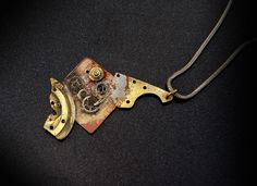 Items similar to Steampunk inspired dystopian pendant brass copper sterling silver chain= Handmade by Adamson Jewellery on Etsy Slave Bracelet, Copper, Brass, Neo Victorian, Natural Forms, Dieselpunk, Statement Rings, Anklet, Sterling Silver Chains