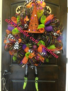 Witch wreath Halloween wreath black purple green polka dot chevron feet decomesh wreath  Created by aDOORable cute creations on Facebook https://www.facebook.com/AdooRableCuteCreations?ref=hl
