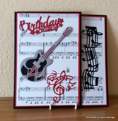 Made by Claire Basinger - Birthday card made using the Rococo guitar, treble clef and the perfect harmony dies, with free music paper from the internet as a background paper. The sentiment is from the Miniature Moments collection cut in red with a grey drop shadow to match the guitar.