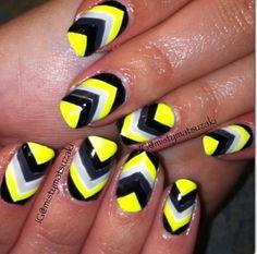 Shellac nail art. Gelish nail art. Neon chevron nail design