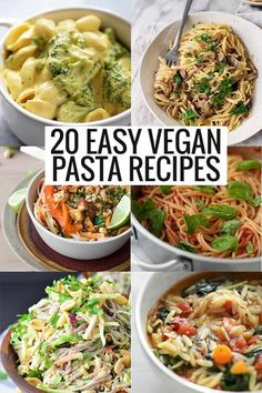 20 EASY vegan pasta recipes! Save this pin for busy weeknights when you need a healthy meal on the table fast. #veganpasta #veganrecipes #vegan #delishknowledge #recipes #healthydinner #dinnerrecipes #pasta