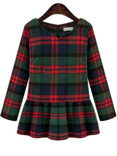 df28a69cfad97 Green V Neck Plaid Ruffle Woolen Top pictures Green Long Sleeve Dress