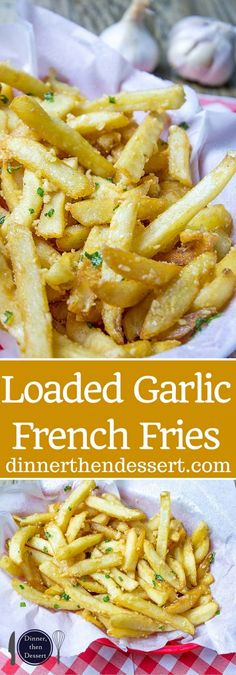 Oven Baked Loaded Garlic French Fries tossed in slightly warmed chopped garlic, olive oil and kosher salt, just like you enjoy at the ball game! I would use olive oil I Love Food, Good Food, Yummy Food, Tasty, Potato Dishes, Food Dishes, Side Dishes, Potato Snacks, Oven Dishes