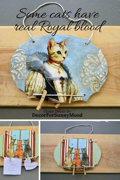 Excited to share the latest addition to my #etsy shop: That wooden memo board with Royal cat is ideal #catlovergift It can be wood recipe holder,   those fancy cats  whimsical animals can be also message or notice or bulletin board #catdecor #fancycat #memoboard #recipeholder #messageboard #catgift