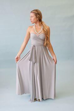4c5b571f02 Nantucket Fog Grey Satin Jersey- Infinity Convertible Wrap Maxi Dress-Long  Gown