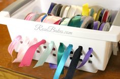 How to Organize Ribbons - Rose Atwater Ribbon Organization, Ribbons, Organize, Basket, Hacks, Rose, Crafts, Pink, Manualidades