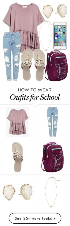 """""""School outfit"""" by jadenriley21 on Polyvore featuring Topshop, Tory Burch, The North Face and Kendra Scott"""