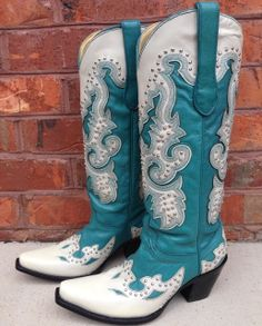 Rivertrail Mercantile - Corral Turquoise Cream Studs Boots A1188, $257.99 (http://www.rivertrailmercantile.com/corral-turquoise-cream-studs-boots-a1188/)