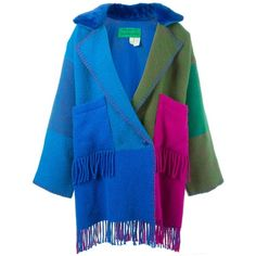 Jc De Castelbajac Vintage Oversized Blanket Coat (8,855 CNY) ❤ liked on Polyvore featuring outerwear, coats, blue coat, colorful coat, jc de castelbajac, fringe coat and oversized coat